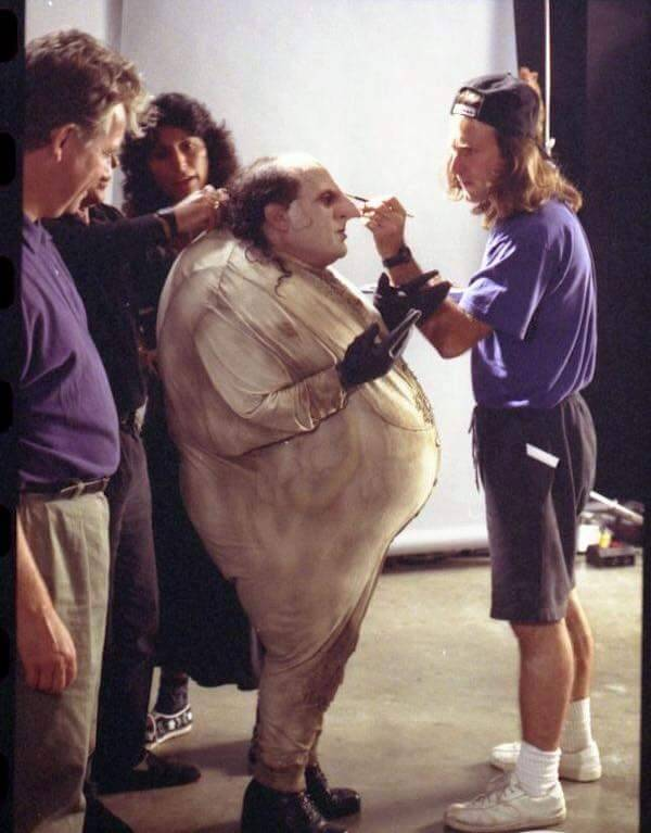 "Danny DeVito becoming The Penguin behind the scenes of ""Batman Returns"" 1992. Directed by Tim Burton.jpg"