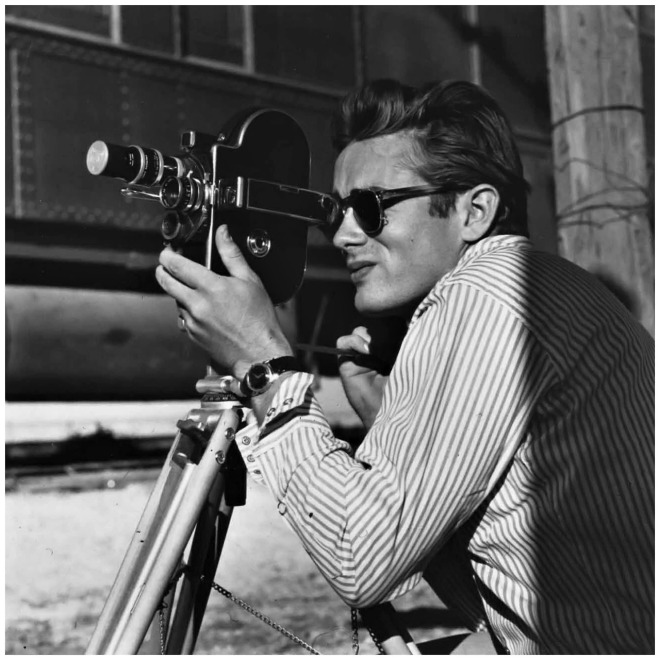 James Dean on the set of Giant, 1955.jpg